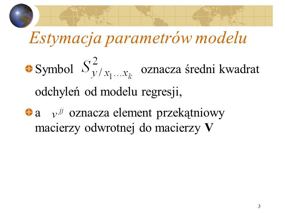 3 Estymacja parametrów modelu Symbol oznacza średni kwadrat odchyleń od modelu regresji, a oznacza element przekątniowy macierzy odwrotnej do macierzy