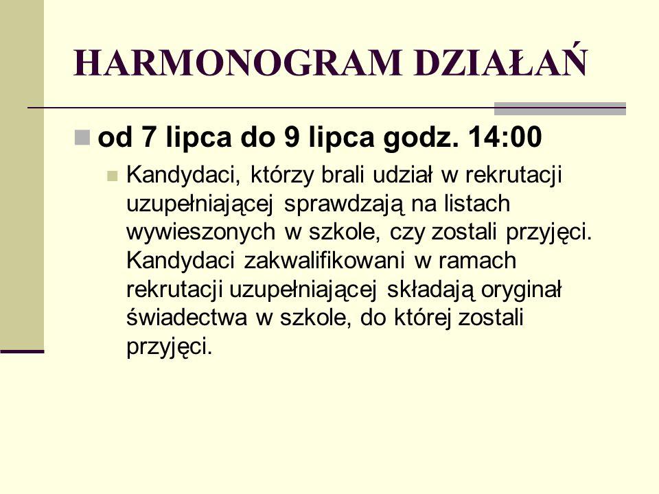 HARMONOGRAM DZIAŁAŃ od 7 lipca do 9 lipca godz.