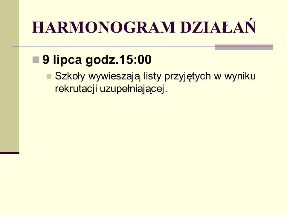 HARMONOGRAM DZIAŁAŃ 9 lipca godz.15:00 Szkoły wywieszają listy przyjętych w wyniku rekrutacji uzupełniającej.