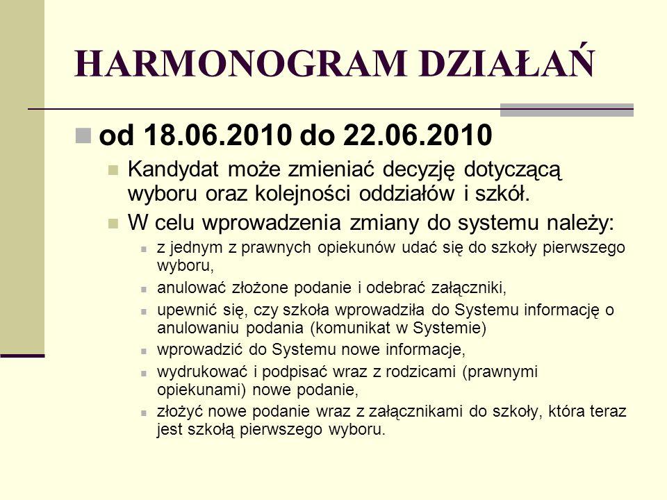 HARMONOGRAM DZIAŁAŃ od 18.06.2010 do 22.06.2010 Kandydat może zmieniać decyzję dotyczącą wyboru oraz kolejności oddziałów i szkół.