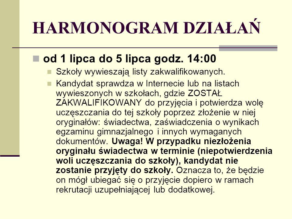 HARMONOGRAM DZIAŁAŃ od 1 lipca do 5 lipca godz. 14:00 Szkoły wywieszają listy zakwalifikowanych.