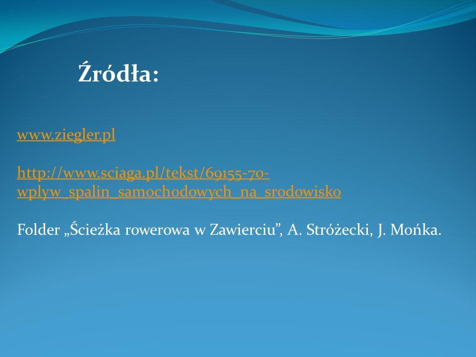 Źródła: www.ziegler.pl http://www.sciaga.pl/tekst/69155-70- wplyw_spalin_samochodowych_na_srodowisko Folder Ścieżka rowerowa w Zawierciu, A. Stróżecki