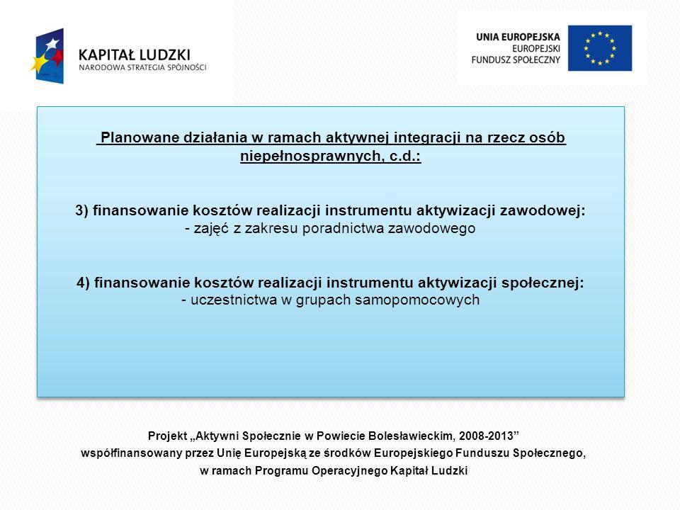 Projekt Aktywni Społecznie w Powiecie Bolesławieckim, 2008-2013 współfinansowany przez Unię Europejską ze środków Europejskiego Funduszu Społecznego, w ramach Programu Operacyjnego Kapitał Ludzki