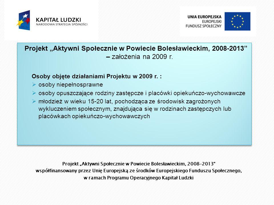 Projekt Aktywni Społecznie w Powiecie Bolesławieckim, 2008-2013 współfinansowany przez Unię Europejską ze środków Europejskiego Funduszu Społecznego, w ramach Programu Operacyjnego Kapitał Ludzki Projekt Aktywni Społecznie w Powiecie Bolesławieckim, 2008-2013 – założenia na 2009 r.