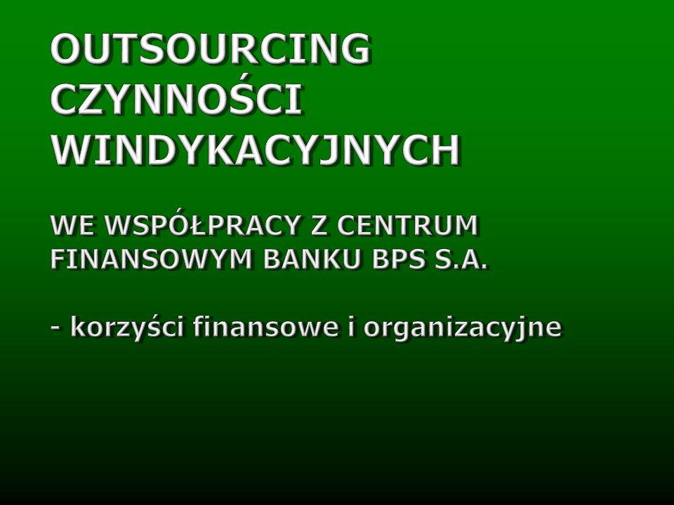 Outsourcing restrukturyzacji i windykacji długów we współpracy z Centrum Finansowym zapewnia… Organizacji pracy Metod windykacji Kosztów windykacji Przepływu danych OPTYMAILIZACJĘ PRAWNĄ I FINANSOWĄ