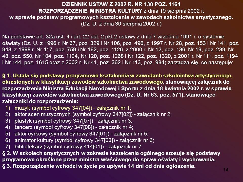 14 DZIENNIK USTAW Z 2002 R. NR 138 POZ. 1164 ROZPORZĄDZENIE MINISTRA KULTURY z dnia 19 sierpnia 2002 r. w sprawie podstaw programowych kształcenia w z