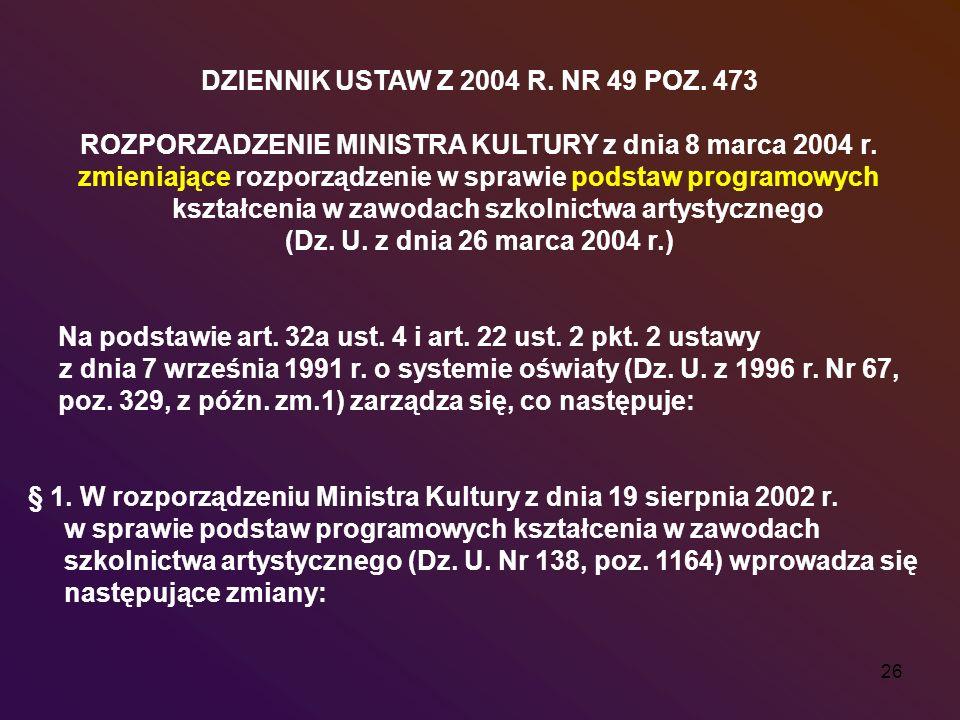 26 DZIENNIK USTAW Z 2004 R. NR 49 POZ. 473 ROZPORZADZENIE MINISTRA KULTURY z dnia 8 marca 2004 r. zmieniające rozporządzenie w sprawie podstaw program
