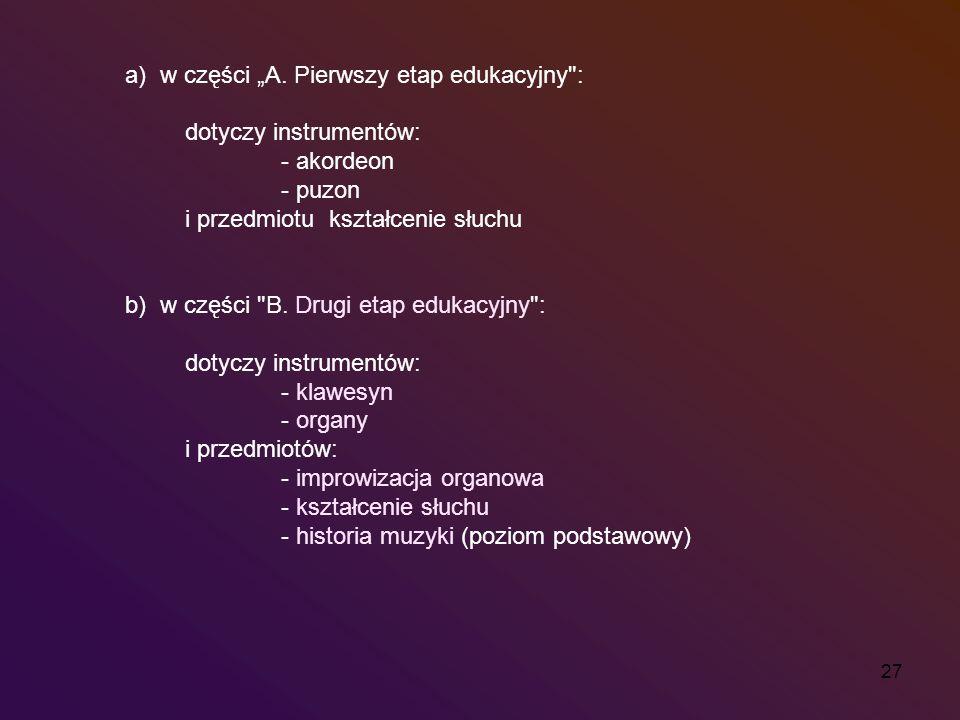 27 a) w części A. Pierwszy etap edukacyjny