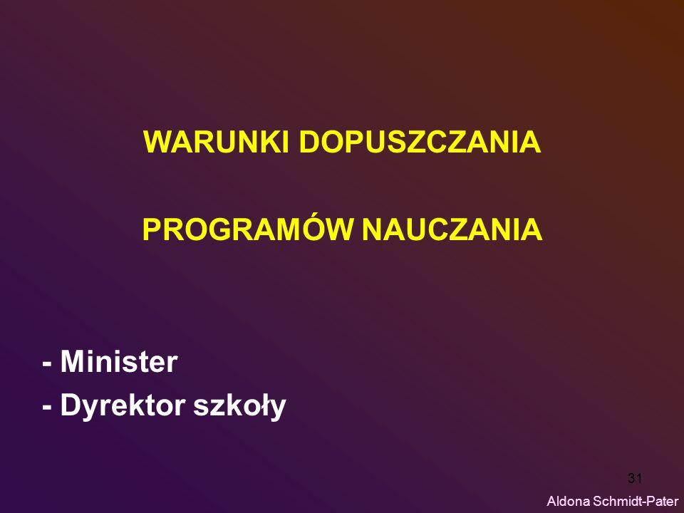 31 WARUNKI DOPUSZCZANIA PROGRAMÓW NAUCZANIA - Minister - Dyrektor szkoły Aldona Schmidt-Pater