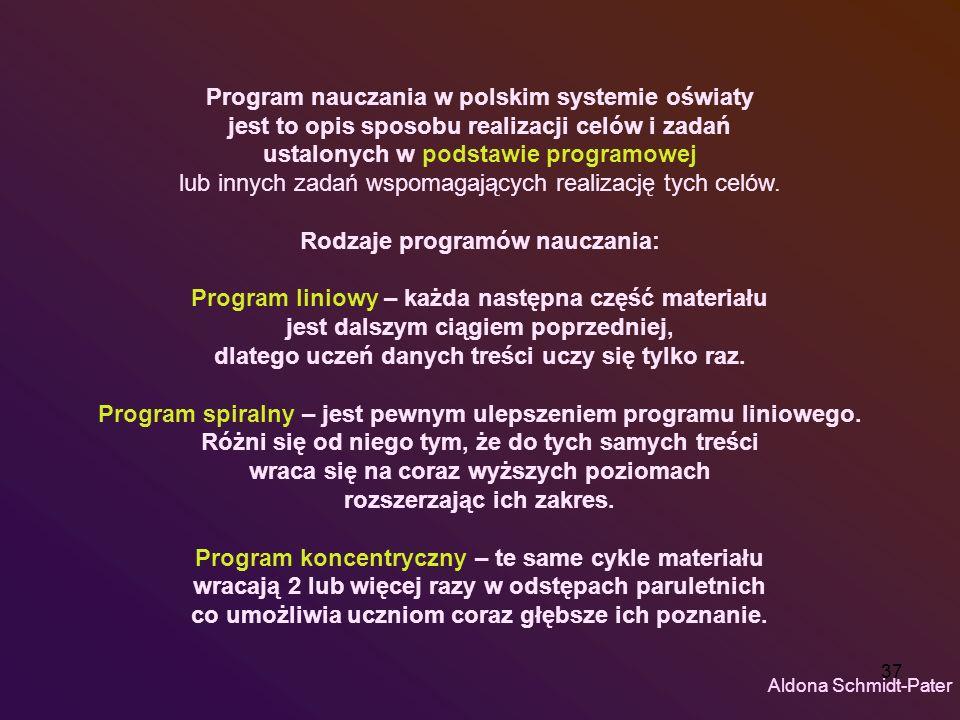 37 Program nauczania w polskim systemie oświaty jest to opis sposobu realizacji celów i zadań ustalonych w podstawie programowej lub innych zadań wspo