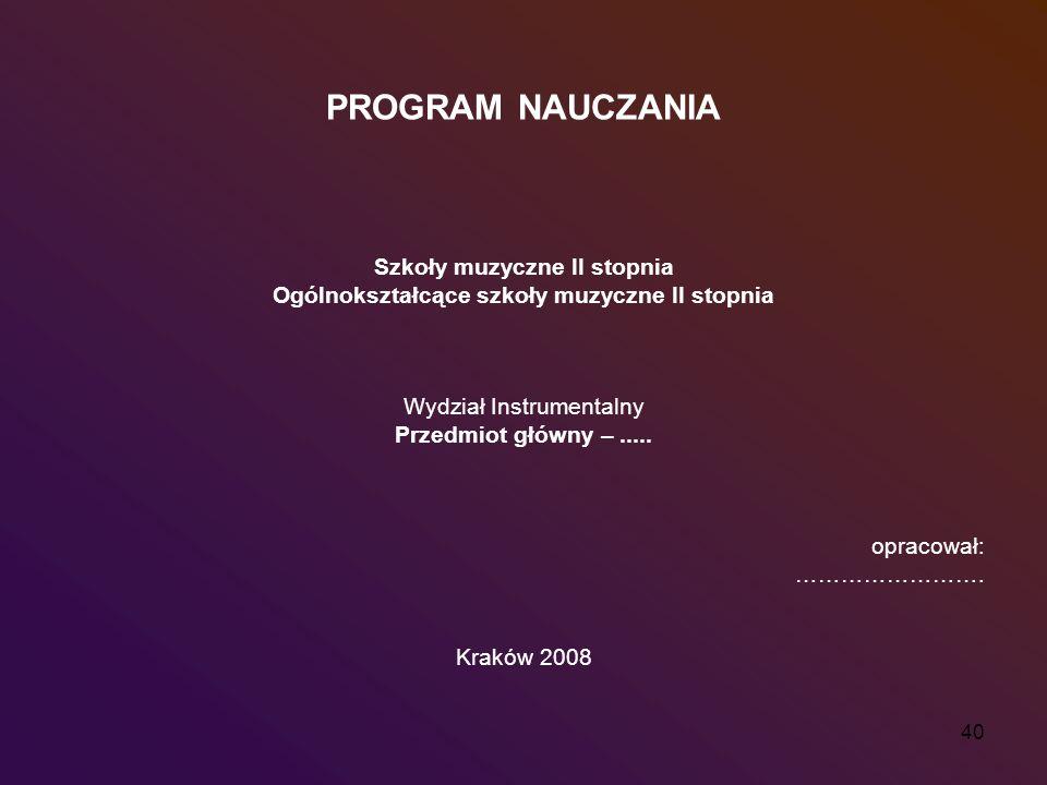 40 PROGRAM NAUCZANIA Szkoły muzyczne II stopnia Ogólnokształcące szkoły muzyczne II stopnia Wydział Instrumentalny Przedmiot główny –..... opracował: