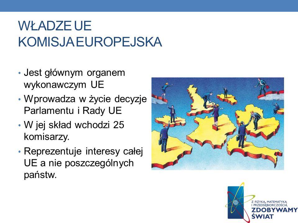 WŁADZE UE KOMISJA EUROPEJSKA Jest głównym organem wykonawczym UE Wprowadza w życie decyzje Parlamentu i Rady UE W jej skład wchodzi 25 komisarzy. Repr