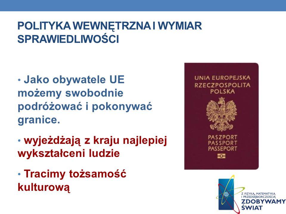 POLITYKA WEWNĘTRZNA I WYMIAR SPRAWIEDLIWOŚCI Jako obywatele UE możemy swobodnie podróżować i pokonywać granice. wyjeżdżają z kraju najlepiej wykształc