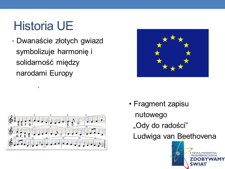 Historia UE Dwanaście złotych gwiazd symbolizuje harmonię i solidarność między narodami Europy Fragment zapisu nutowego Ody do radości Ludwiga van Bee