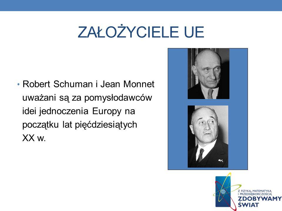 ZAŁOŻYCIELE UE Robert Schuman i Jean Monnet uważani są za pomysłodawców idei jednoczenia Europy na początku lat pięćdziesiątych XX w.