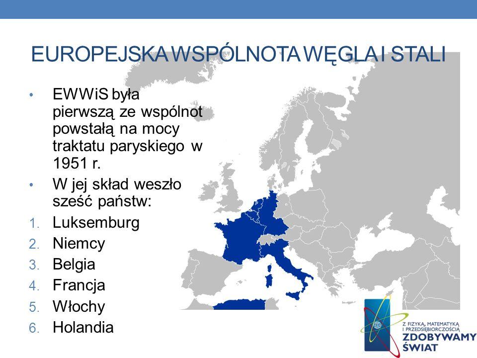 EUROPEJSKA WSPÓLNOTA WĘGLA I STALI EWWiS była pierwszą ze wspólnot powstałą na mocy traktatu paryskiego w 1951 r. W jej skład weszło sześć państw: 1.