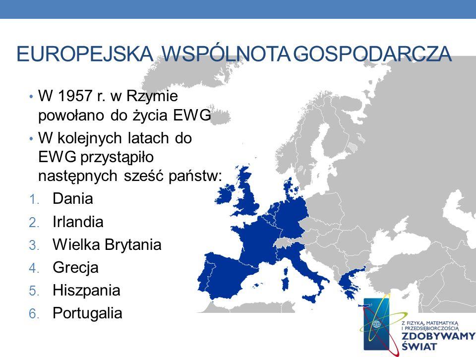 W 1957 r. w Rzymie powołano do życia EWG W kolejnych latach do EWG przystąpiło następnych sześć państw: 1. Dania 2. Irlandia 3. Wielka Brytania 4. Gre