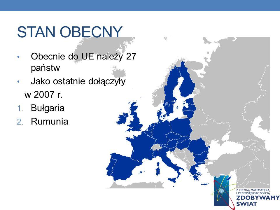 STAN OBECNY Obecnie do UE należy 27 państw Jako ostatnie dołączyły w 2007 r. 1. Bułgaria 2. Rumunia