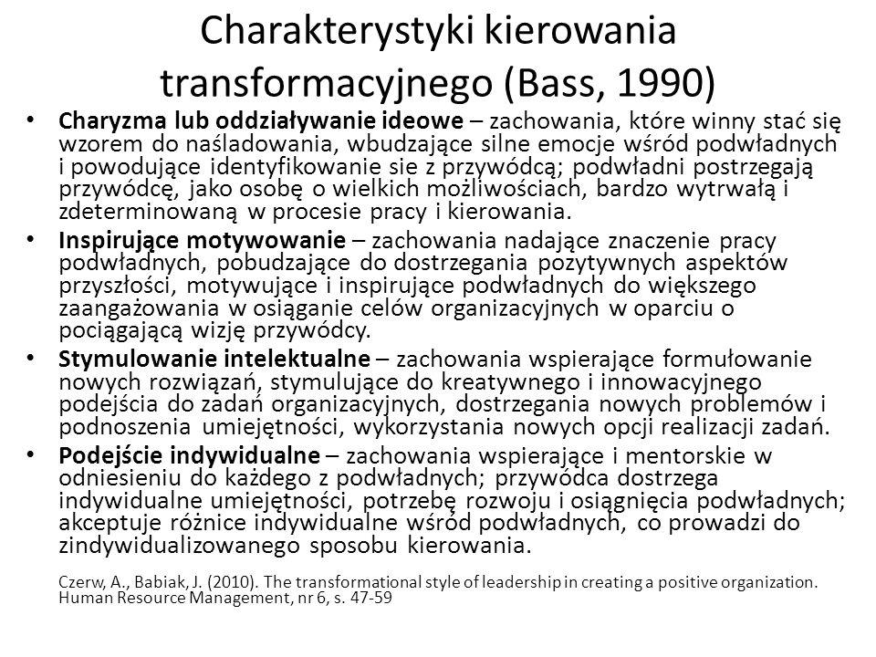 Charakterystyki kierowania transformacyjnego (Bass, 1990) Charyzma lub oddziaływanie ideowe – zachowania, które winny stać się wzorem do naśladowania, wbudzające silne emocje wśród podwładnych i powodujące identyfikowanie sie z przywódcą; podwładni postrzegają przywódcę, jako osobę o wielkich możliwościach, bardzo wytrwałą i zdeterminowaną w procesie pracy i kierowania.