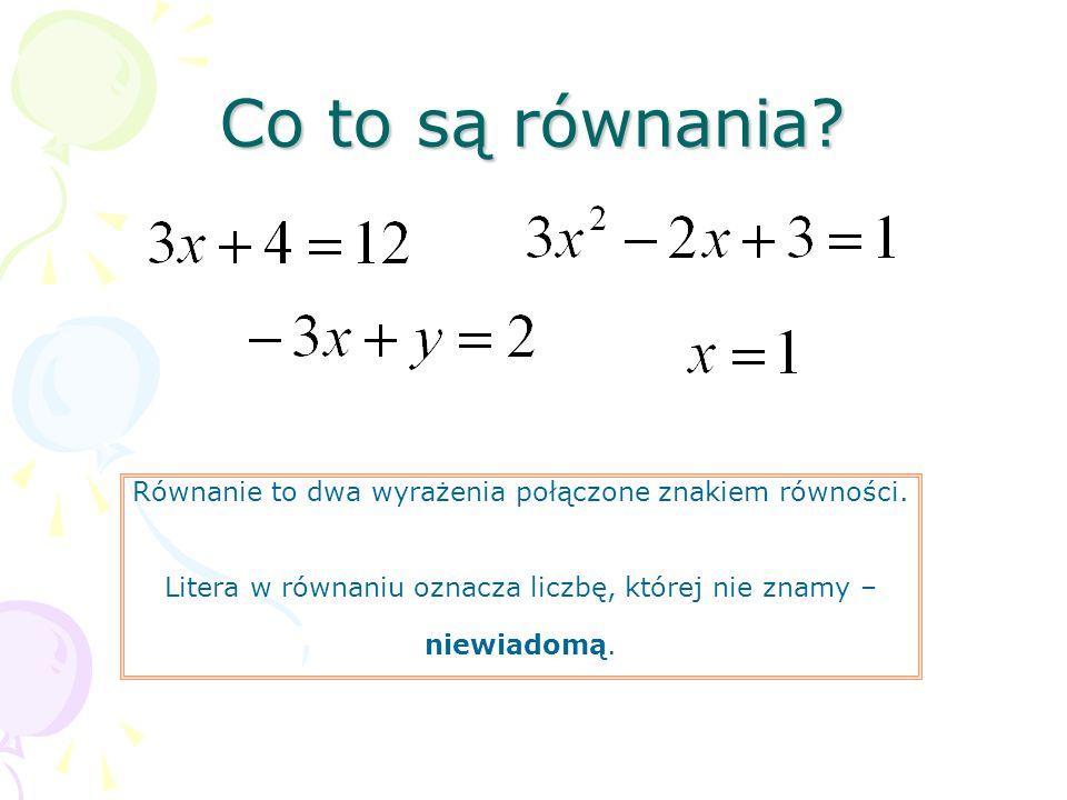 Co to są równania? Równanie to dwa wyrażenia połączone znakiem równości. Litera w równaniu oznacza liczbę, której nie znamy – niewiadomą.