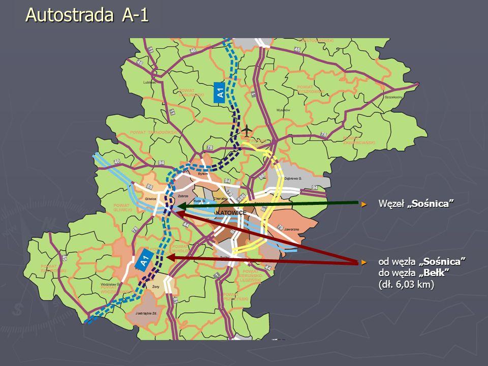 Węzeł Sośnica Węzeł Sośnica od węzła Sośnica do węzła Bełk (dł. 6,03 km) od węzła Sośnica do węzła Bełk (dł. 6,03 km) Autostrada A-1