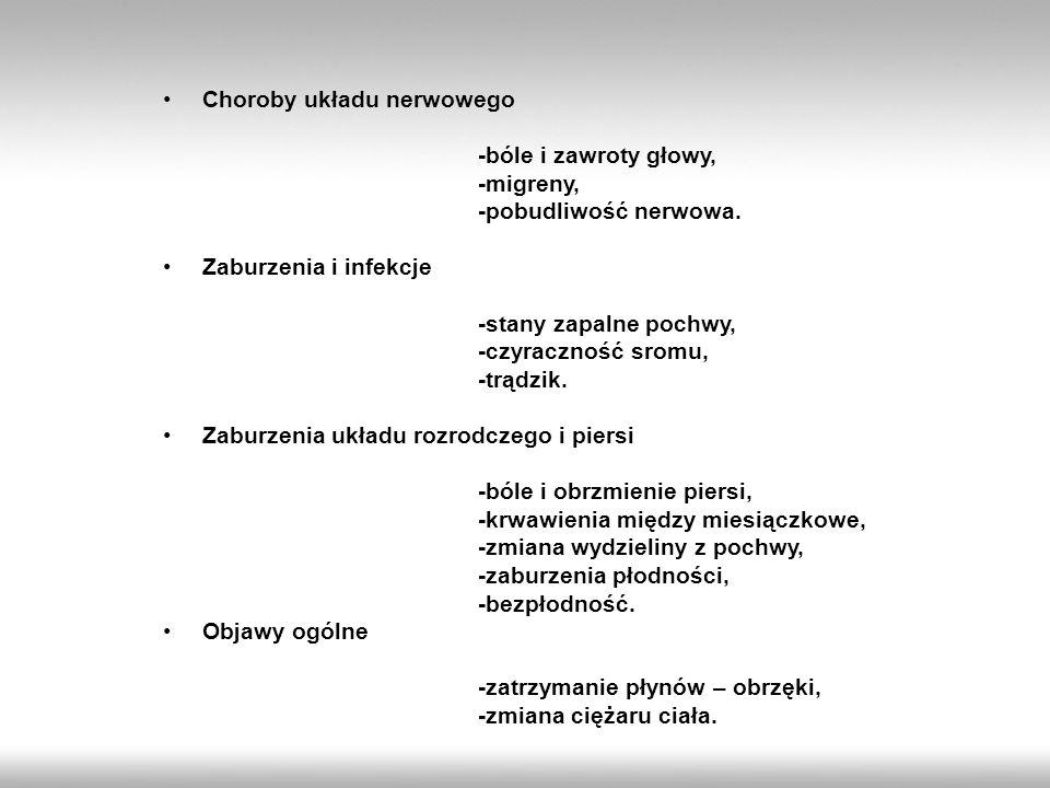 Choroby układu nerwowego -bóle i zawroty głowy, -migreny, -pobudliwość nerwowa. Zaburzenia i infekcje -stany zapalne pochwy, -czyraczność sromu, -trąd