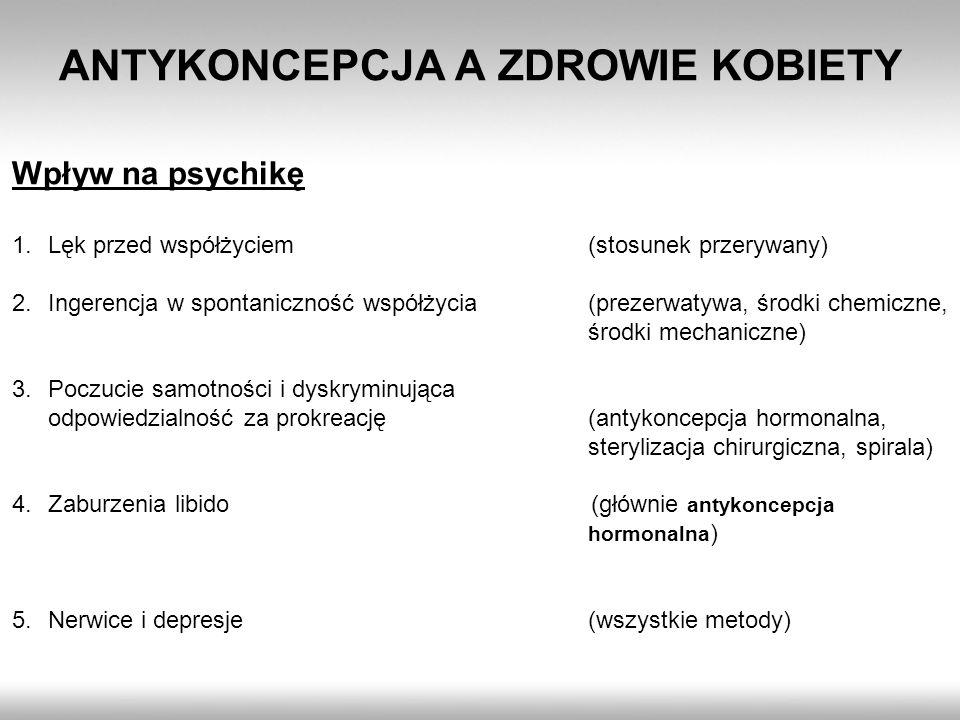 ANTYKONCEPCJA A ZDROWIE KOBIETY Wpływ na psychikę 1.Lęk przed współżyciem(stosunek przerywany) 2.Ingerencja w spontaniczność współżycia(prezerwatywa,