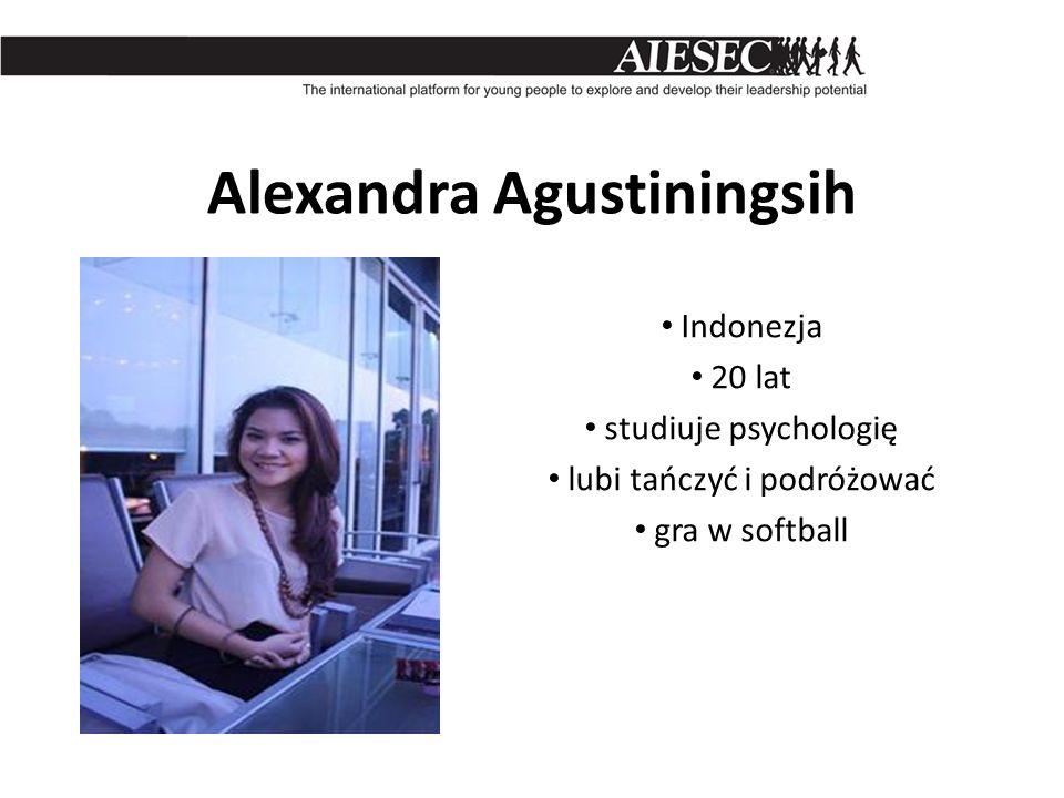 Alexandra Agustiningsih Indonezja 20 lat studiuje psychologię lubi tańczyć i podróżować gra w softball