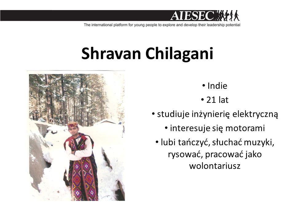 Shravan Chilagani Indie 21 lat studiuje inżynierię elektryczną interesuje się motorami lubi tańczyć, słuchać muzyki, rysować, pracować jako wolontariu