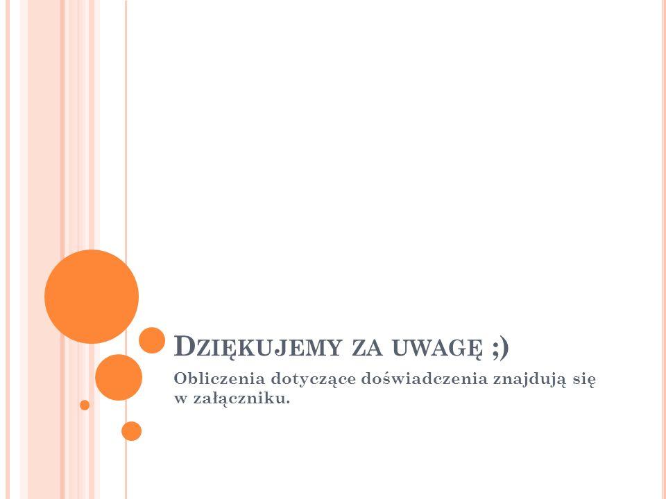 D ZIĘKUJEMY ZA UWAGĘ ;) Obliczenia dotyczące doświadczenia znajdują się w załączniku.