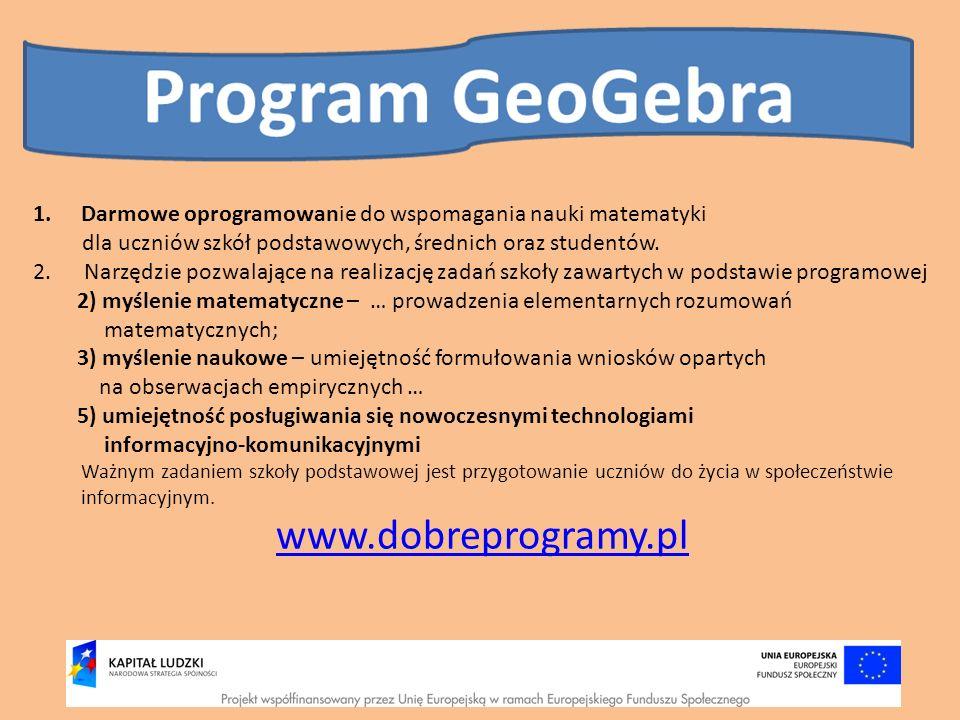 1.Darmowe oprogramowanie do wspomagania nauki matematyki dla uczniów szkół podstawowych, średnich oraz studentów. 2. Narzędzie pozwalające na realizac