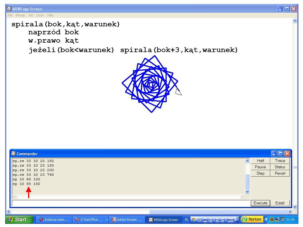 spirala(bok,kąt,warunek) naprzód bok w.prawo kąt jeżeli(bok<warunek) spirala(bok+3,kąt,warunek)