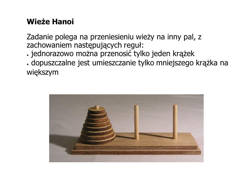 Wieże Hanoi Zadanie polega na przeniesieniu wieży na inny pal, z zachowaniem następujących reguł: jednorazowo można przenosić tylko jeden krążek dopus
