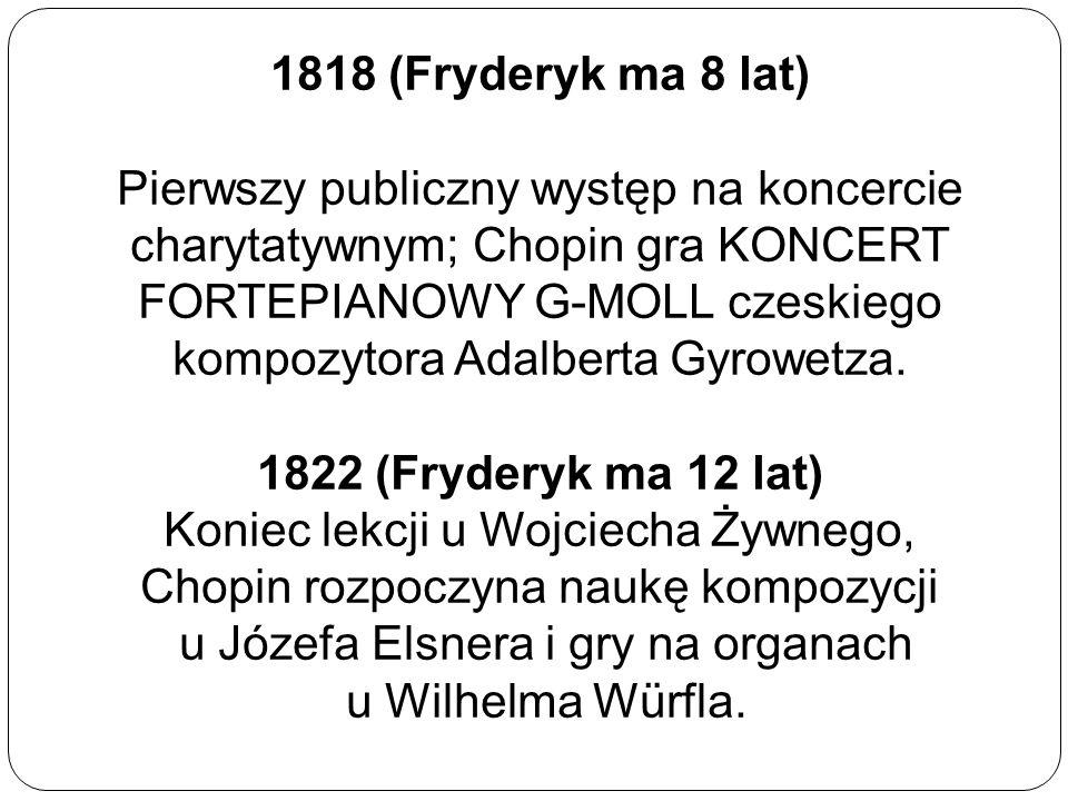 1818 (Fryderyk ma 8 lat) Pierwszy publiczny występ na koncercie charytatywnym; Chopin gra KONCERT FORTEPIANOWY G-MOLL czeskiego kompozytora Adalberta