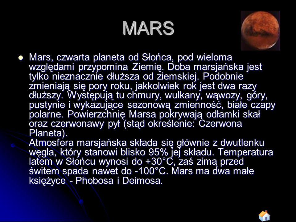 MARS Mars, czwarta planeta od Słońca, pod wieloma względami przypomina Ziemię. Doba marsjańska jest tylko nieznacznie dłuższa od ziemskiej. Podobnie z