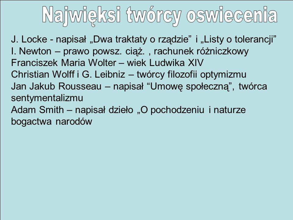 J. Locke - napisał Dwa traktaty o rządzie i Listy o tolerancji I. Newton – prawo powsz. ciąż., rachunek różniczkowy Franciszek Maria Wolter – wiek Lud