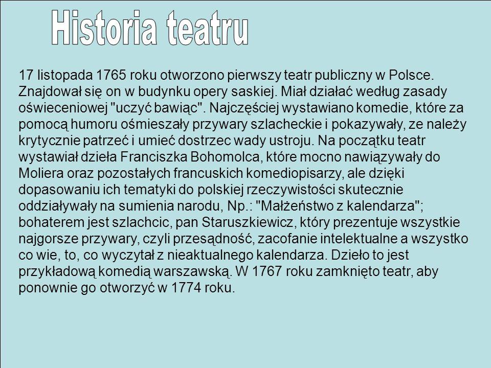17 listopada 1765 roku otworzono pierwszy teatr publiczny w Polsce. Znajdował się on w budynku opery saskiej. Miał działać według zasady oświeceniowej