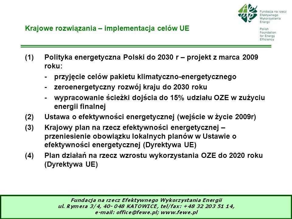 12 Krajowe rozwiązania – implementacja celów UE (1)Polityka energetyczna Polski do 2030 r – projekt z marca 2009 roku: -przyjęcie celów pakietu klimat