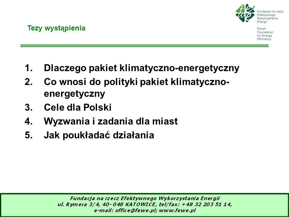 3 Jaka strategia energetyczna Unii Europejskiej (1)Zielona księga z 2006r wykłada europejską strategię na rzecz zrównoważonej, konkurencyjnej i bezpiecznej energii (2)Cele strategii - Trwałość: konkurencyjne źródła OZE i niskoemisyjne nośniki energii, ograniczenie popytu na energię, przodowanie w ochronie klimatu ziemi; -Konkurencyjność: otwarte rynki, zachęty dla czystej energii i racjonalnego wykorzystania energii, łagodzenie wpływu wzrostu cen, liderem w rozwoju nowych technologii; -Bezpieczeństwo zaopatrzenia w energię: zintegrowane zarządzanie popytem i podażą energii, pobudzanie inwestycji, przygotowanie do sytuacji kryzysowych, dostęp do ogólnoświatowych zasobów, dostęp wszystkich do energii