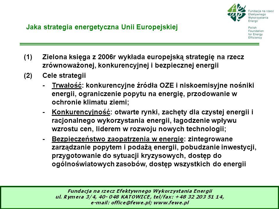 4 Pakiet klimatyczno-energetyczny narzędziem (1)UE liderem i wzorem dla reszty świata dla ochrony klimatu ziemi – niedopuszczenia do większego niż 2 o C wzrostu średniej temperatury Ziemi (2)Cele pakietu 3 x 20% (redukcja gazów cieplarnianych, wzrost udziału OZE w zuzyciu energii finalnej, wzrost efektywności energetycznej) współrealizują politykę energetyczną UE