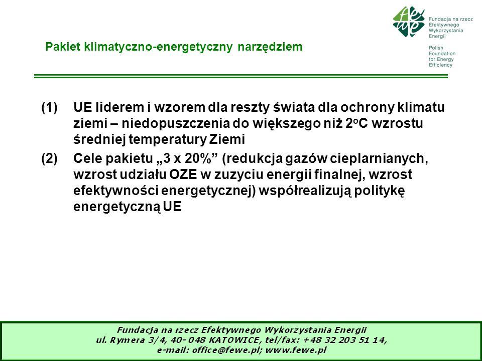 5 Co wnosi pakiet klimatyczno-energetyczny (1)Propozycja KE z 10.01.2007, wynegocjowana przez liderów krajów członkowskich 12.12.2008, zaadoptowana przez Radę UE 06.04.2009 i przez Parlament Europejski 22.04.2009 w formie 3-ciego zliberalizowanego pakietu klimatyczno-energetycznego (2)Cele: -zmniejszyć emisję gazów cieplarnianych (EGC) o 20% w 2020 w stosunku do 1990r przez każdy kraj członkowski -zwiększyć udział energii ze źródeł odnawialnych (OZE) do 20% w 2020r, w tym osiągnąć 10% udziału biopaliw