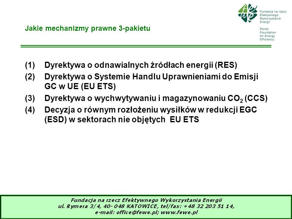 6 Jakie mechanizmy prawne 3-pakietu (1)Dyrektywa o odnawialnych źródłach energii (RES) (2)Dyrektywa o Systemie Handlu Uprawnieniami do Emisji GC w UE