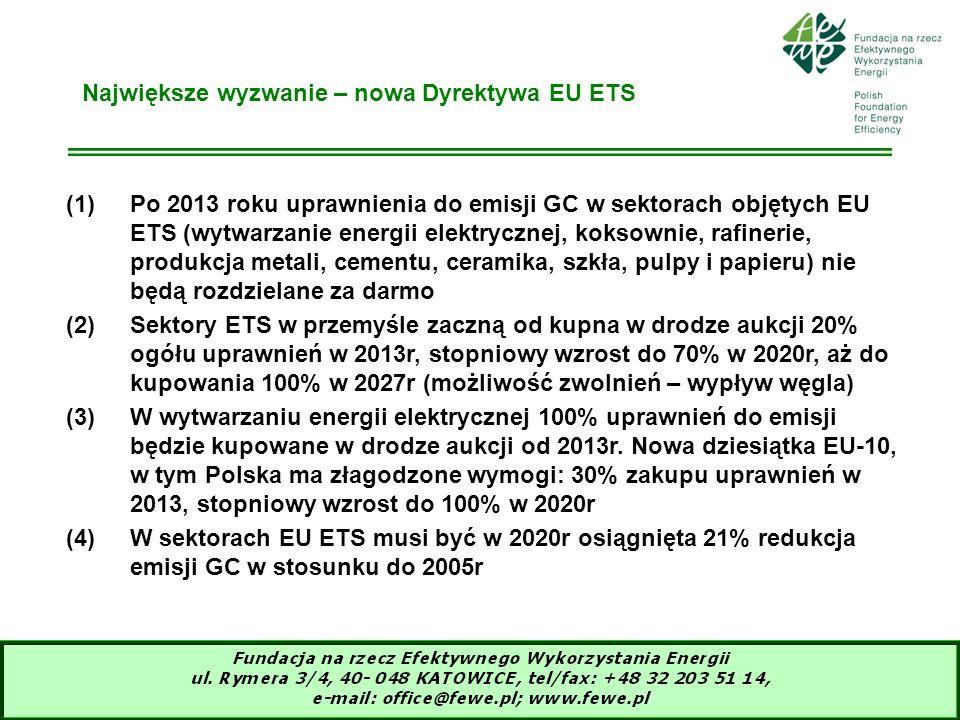 7 Największe wyzwanie – nowa Dyrektywa EU ETS (1)Po 2013 roku uprawnienia do emisji GC w sektorach objętych EU ETS (wytwarzanie energii elektrycznej,