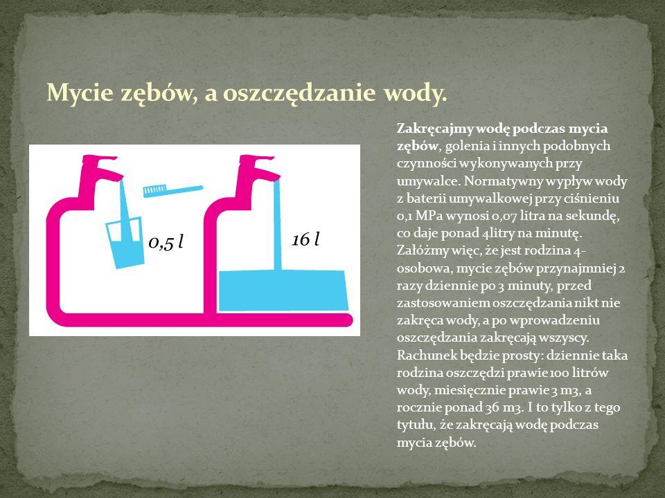 Zakręcajmy wodę podczas mycia zębów, golenia i innych podobnych czynności wykonywanych przy umywalce. Normatywny wypływ wody z baterii umywalkowej prz
