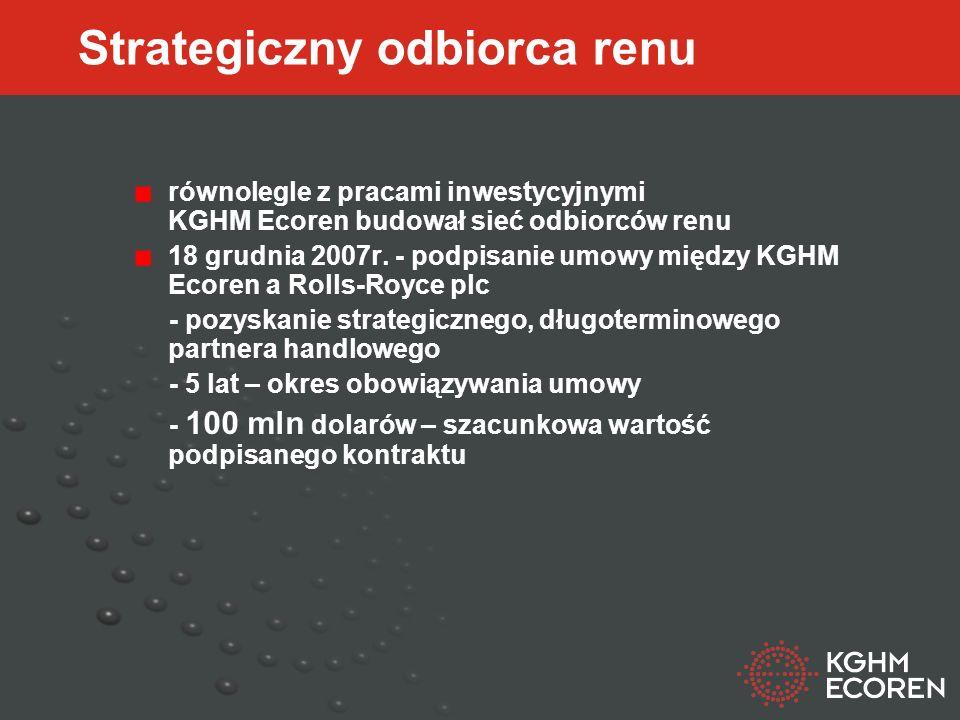 Strategiczny odbiorca renu równolegle z pracami inwestycyjnymi KGHM Ecoren budował sieć odbiorców renu 18 grudnia 2007r.