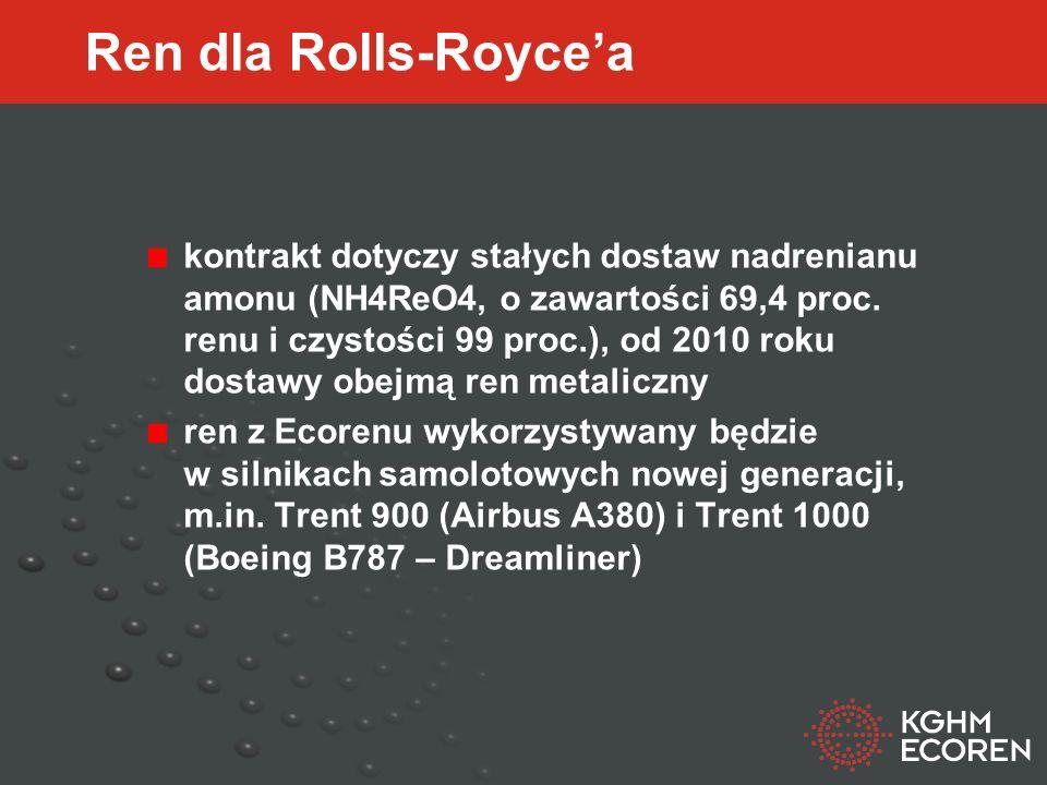 Ren dla Rolls-Roycea kontrakt dotyczy stałych dostaw nadrenianu amonu (NH4ReO4, o zawartości 69,4 proc.