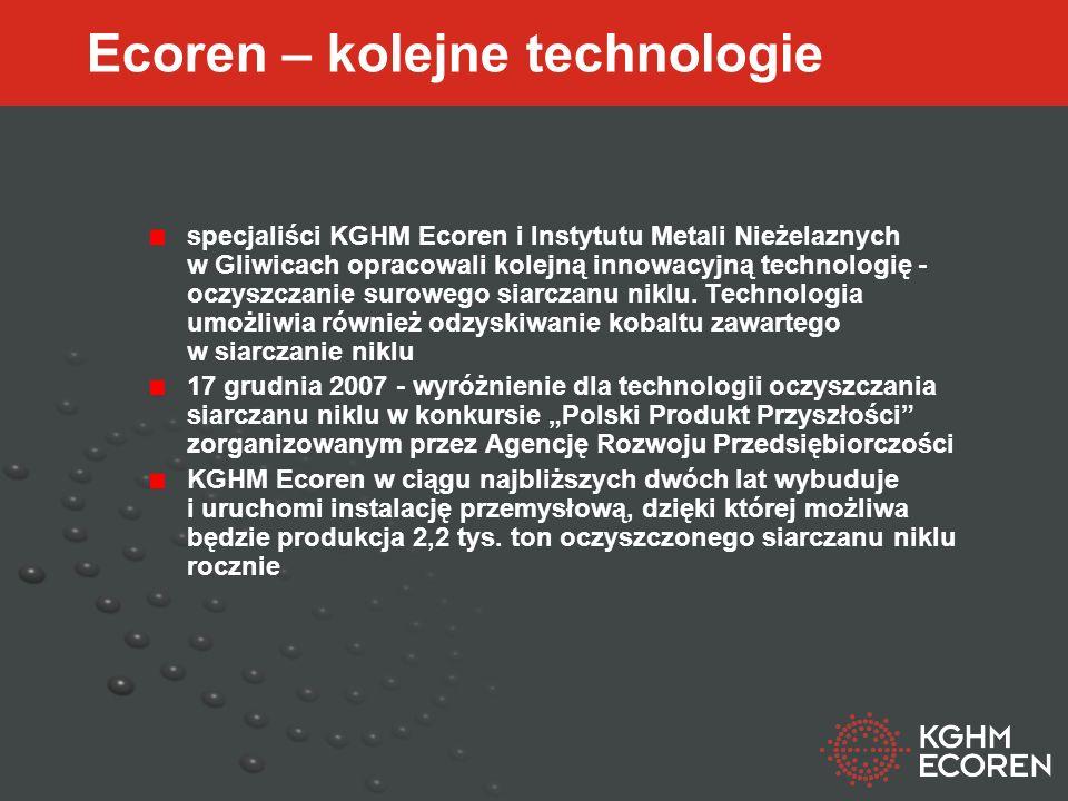 Ecoren – kolejne technologie specjaliści KGHM Ecoren i Instytutu Metali Nieżelaznych w Gliwicach opracowali kolejną innowacyjną technologię - oczyszczanie surowego siarczanu niklu.