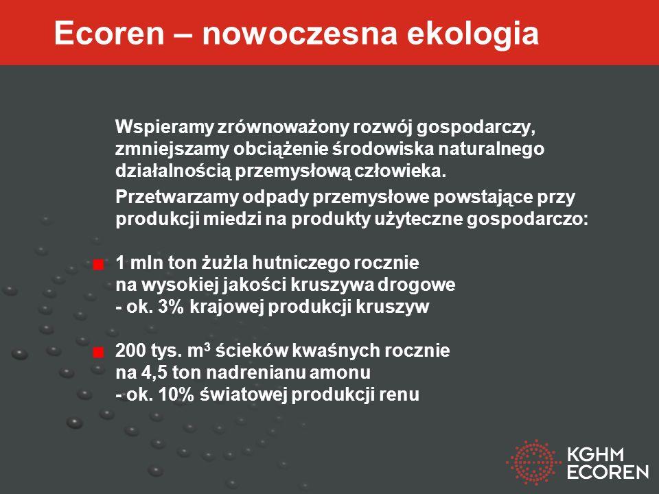 KGHM Ecoren 59 – 301 Lubin, ul. Marii Skłodowskiej – Curie 45 A telefon: 076 7468970 www.ecoren.pl