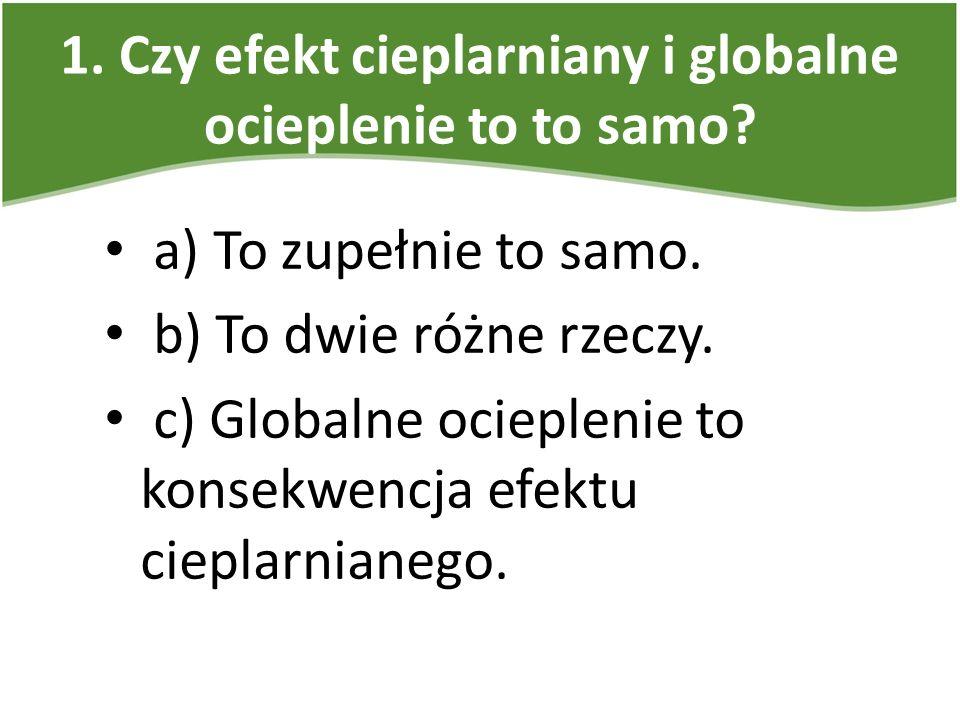 2.Główne gazy cieplarniane to: a) metan, ozon, dwutlenek węgla, tlenki azotu, freony.