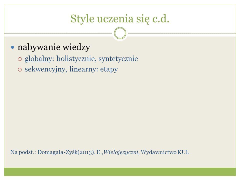 Style uczenia się c.d. nabywanie wiedzy globalny: holistycznie, syntetycznie sekwencyjny, linearny: etapy Na podst.: Domagała-Zyśk(2013), E.,Wielojęzy